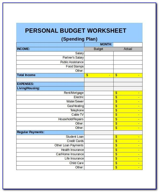 Monthly Budget Spreadsheet Excel Template