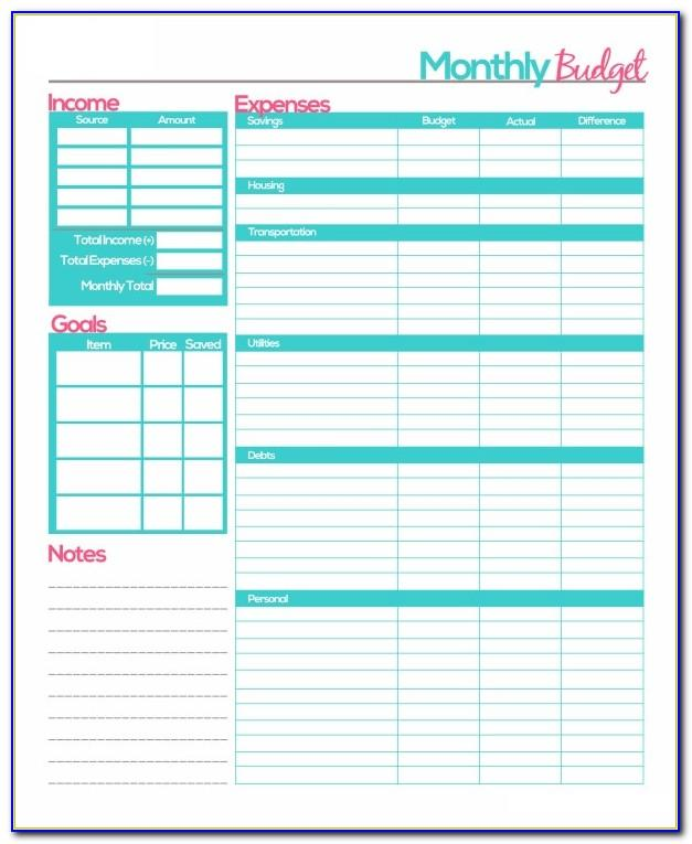 Monthly Budget Templates Excel Free