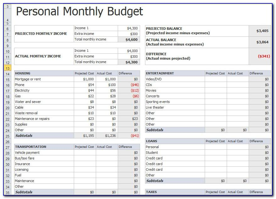 Monthly Budget Worksheet Sample