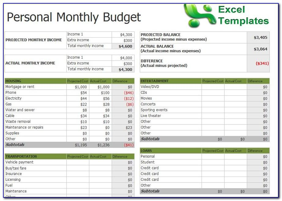 Monthly Budget Worksheet Template Free