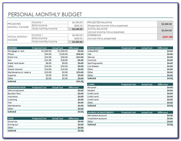 Monthly Budget Worksheet Template Printable