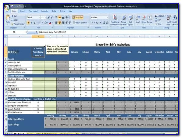 Monthly Budgeting Template Excel