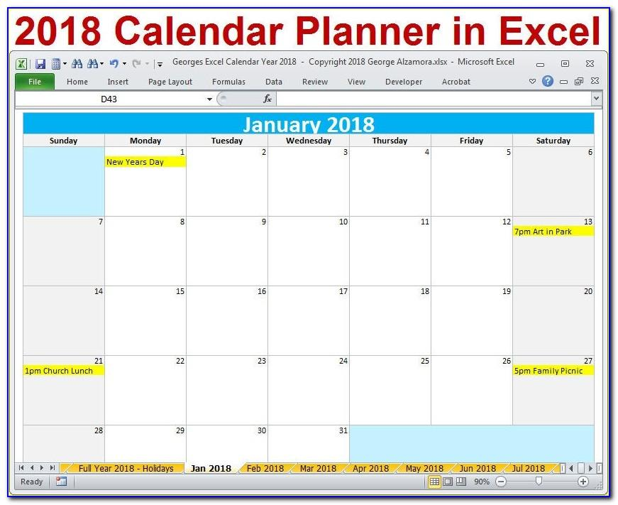 Monthly Calendar Planner Template 2018