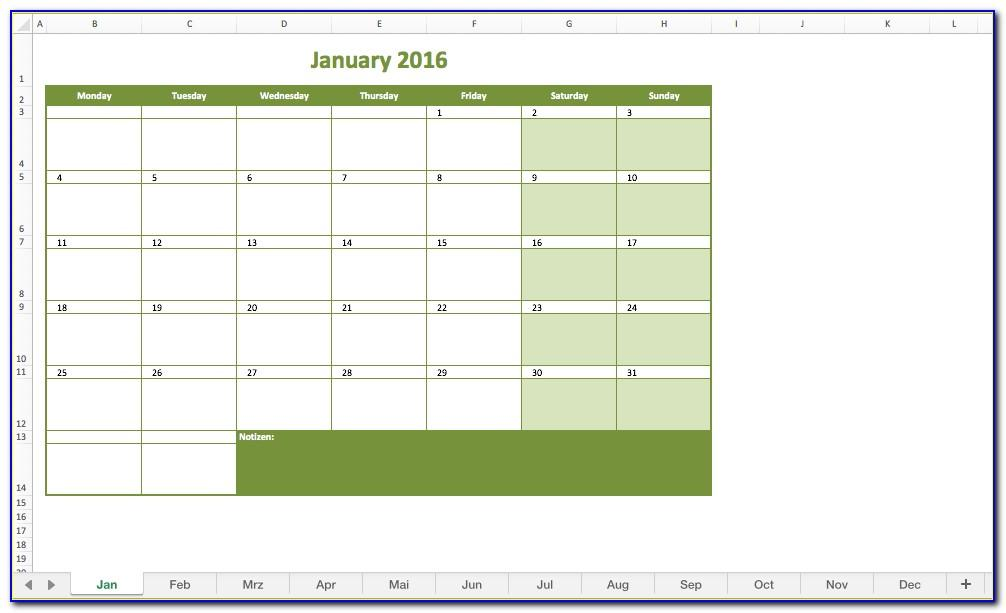 Monthly Calendar Planner Template 2019