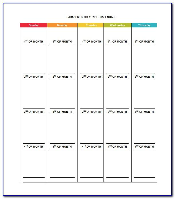 Monthly Calendar Template Excel 2019