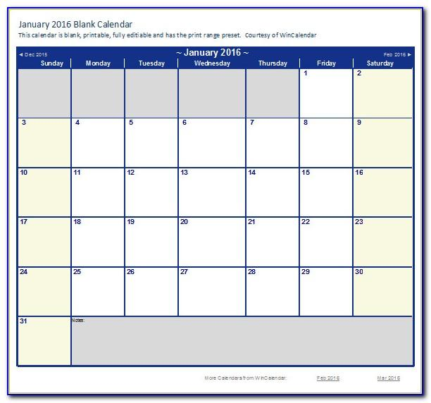 Monthly Calendar Template Excel Download
