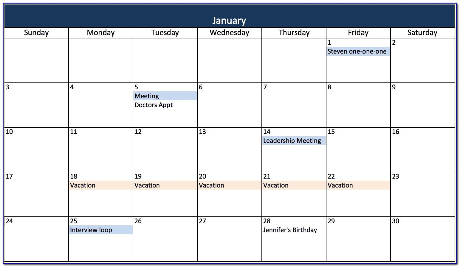 Monthly Calendar Template Excel Free
