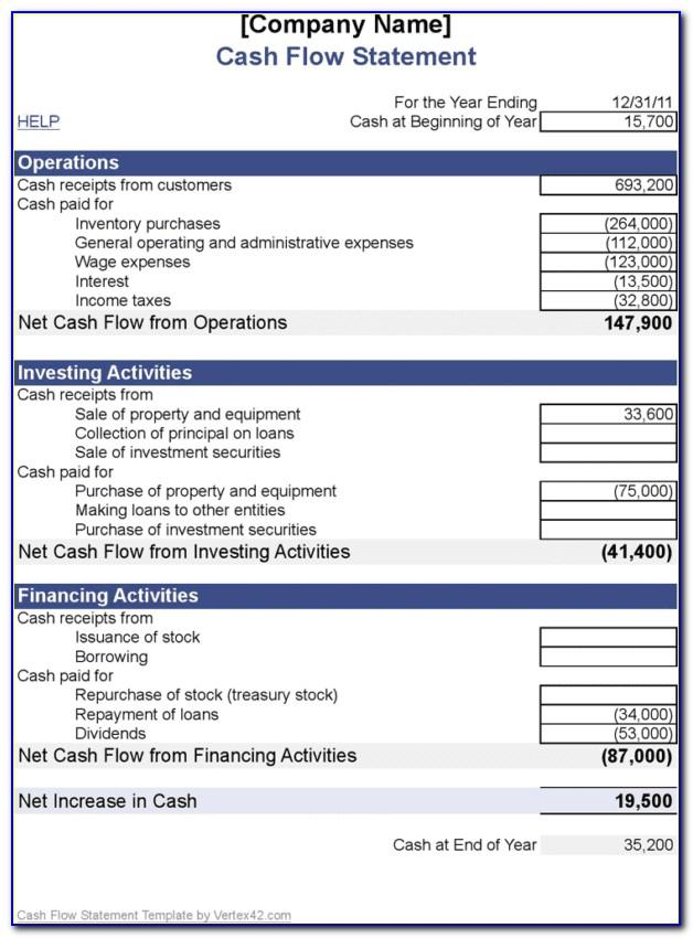 Monthly Cash Flow Statement Sample