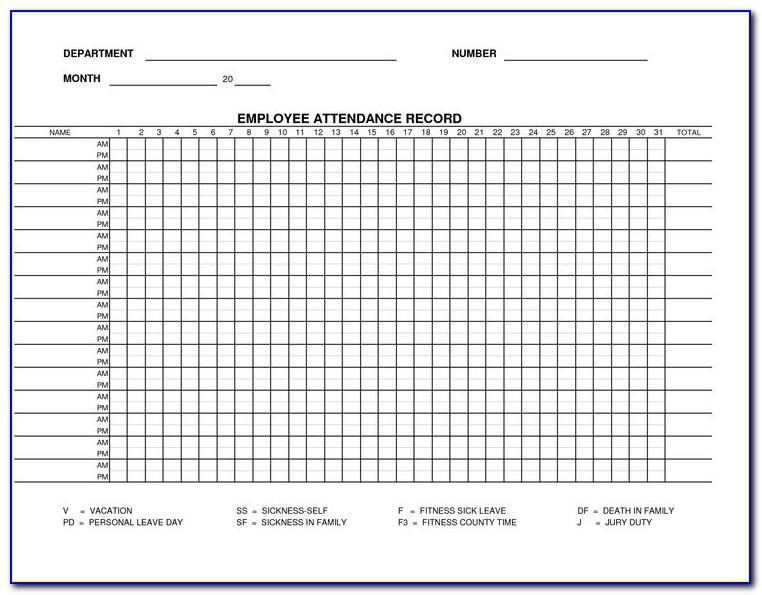 Monthly Employee Attendance Register Template