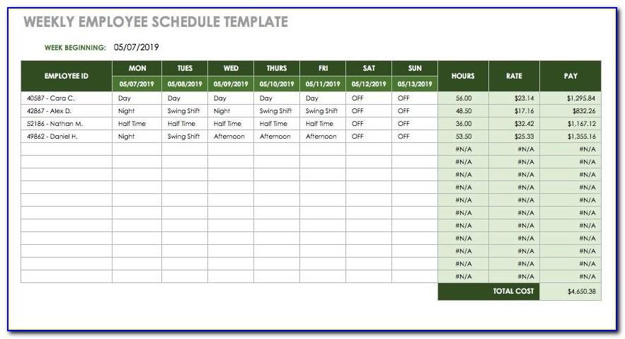 Monthly Employee Schedule Templates