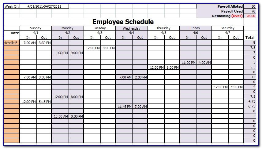 Monthly Employee Timesheet Template Free