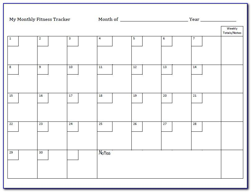 Monthly Exercise Schedule Template