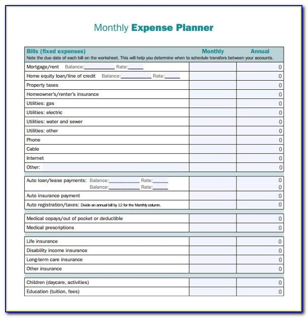 Monthly Expense Planner Template