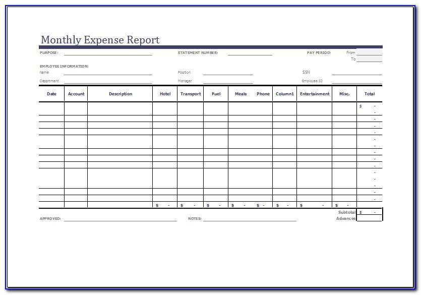 Monthly Expense Report Form