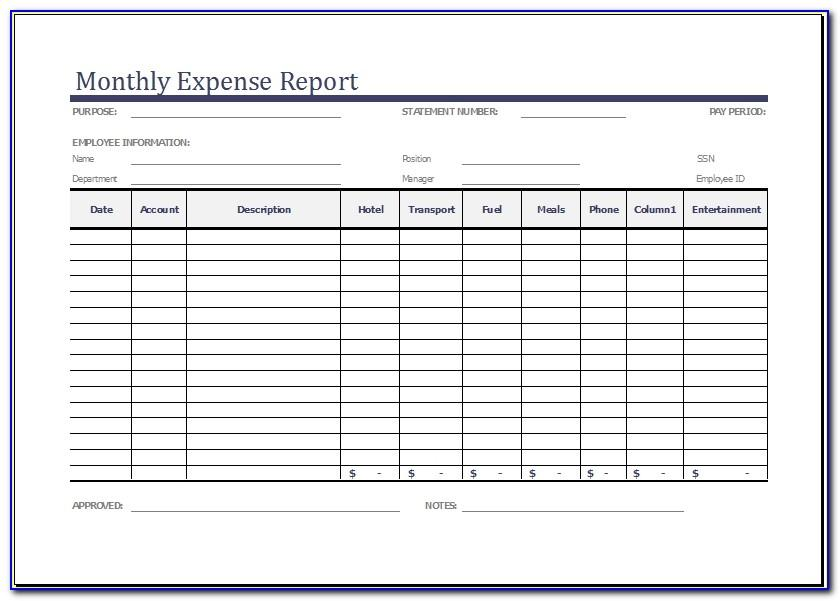 Monthly Financial Report Excel Template