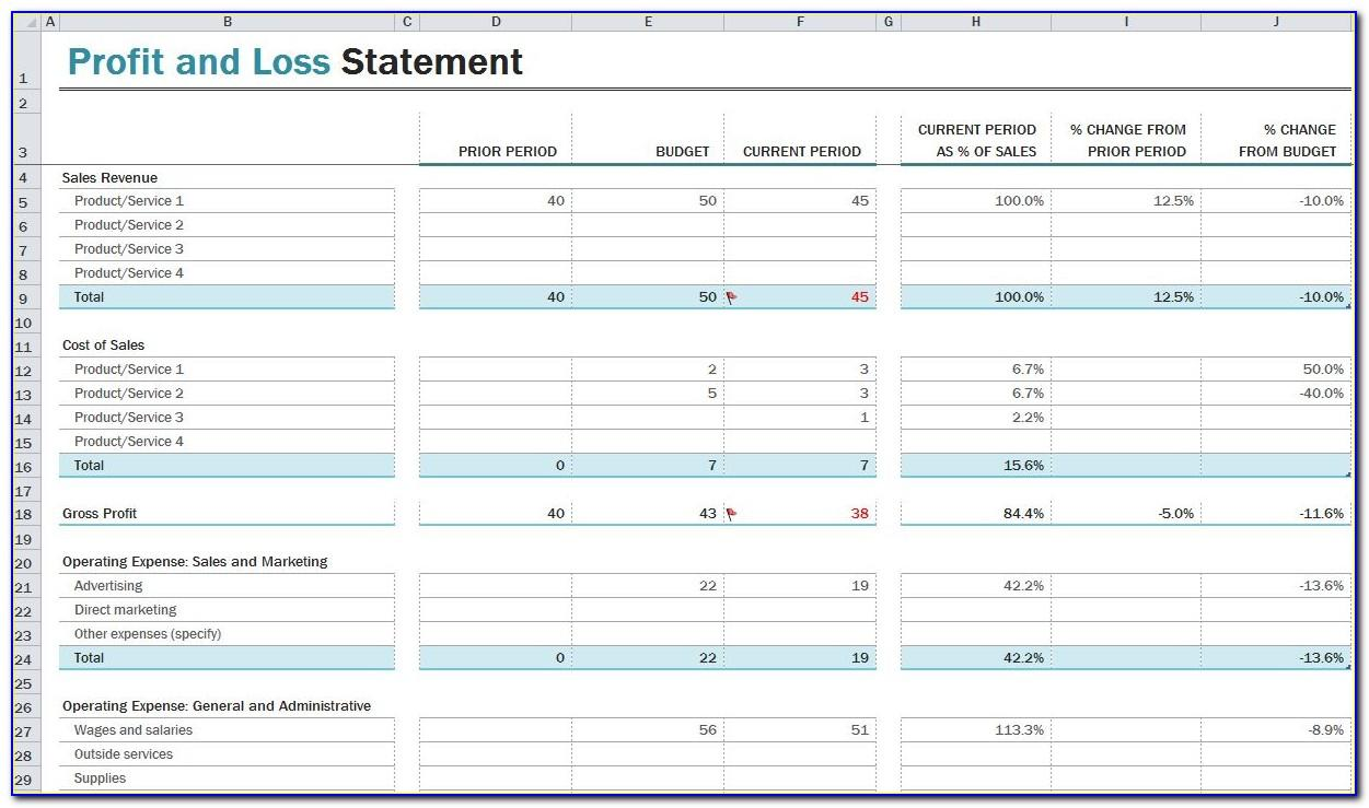 Monthly Profit And Loss Statement Format Excel
