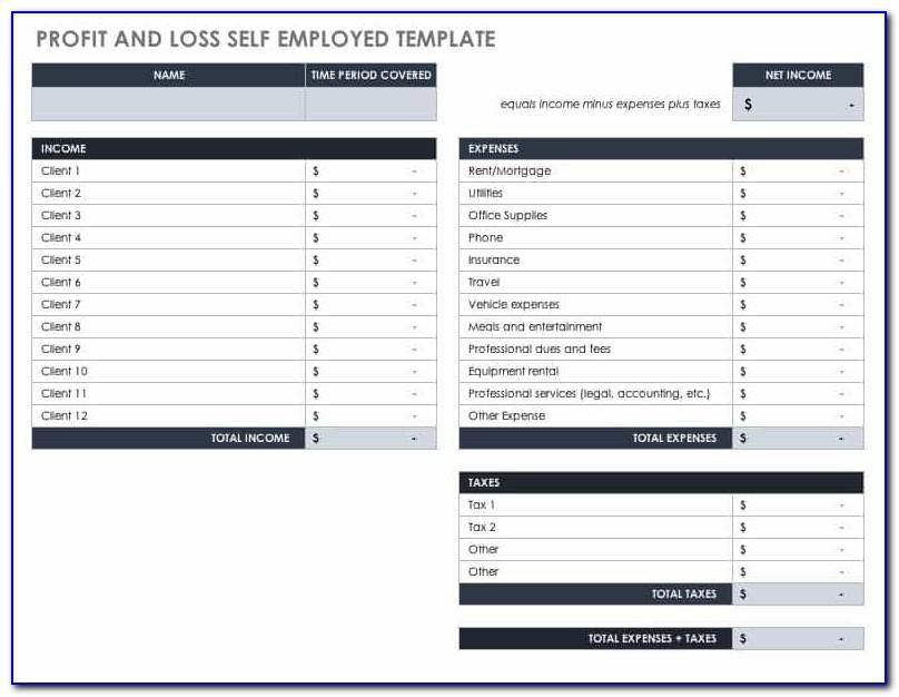 Monthly Profit And Loss Template Pdf