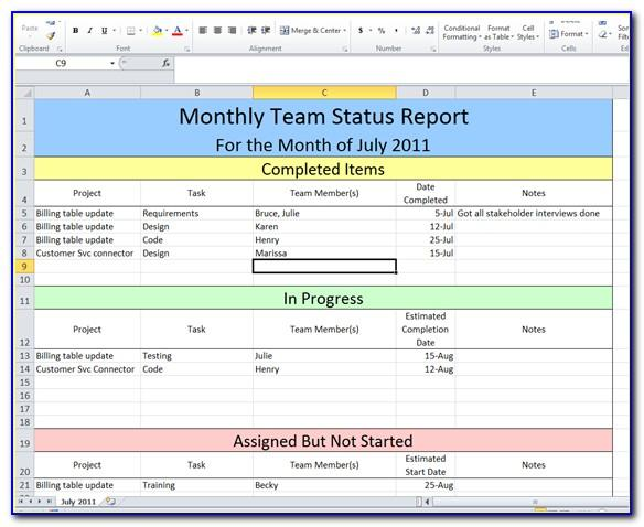 Monthly Progress Report Format Excel