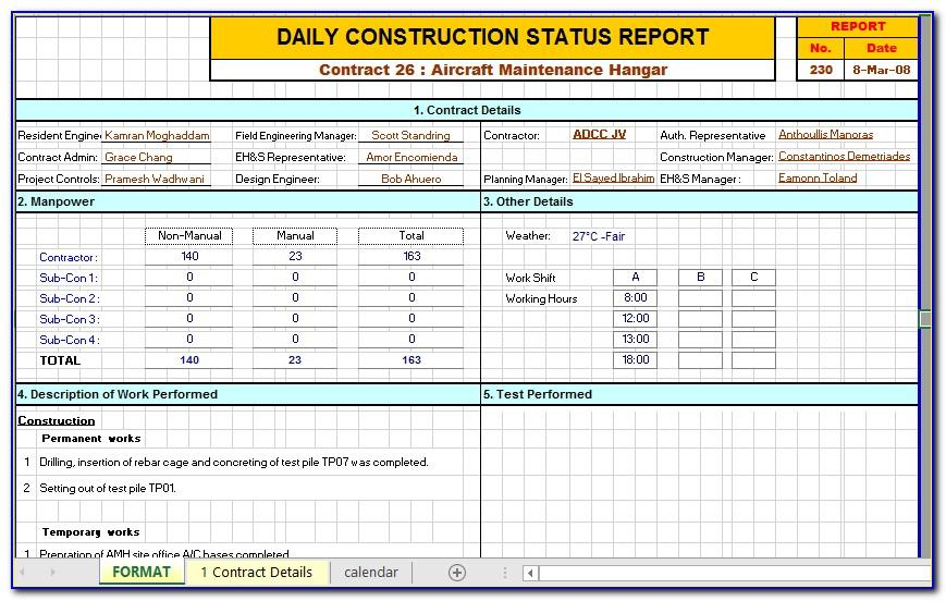 Monthly Progress Report Format For Road Construction In Excel