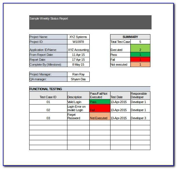 Monthly Progress Report Template Excel