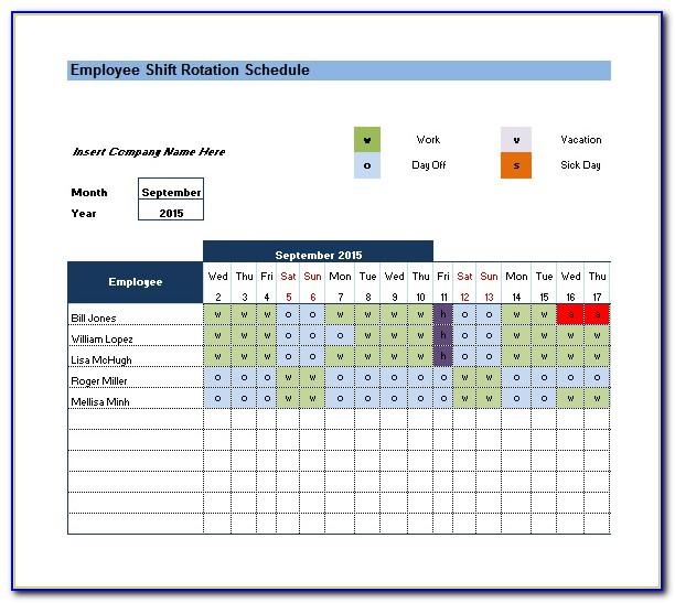 Monthly Rotating Schedule Template