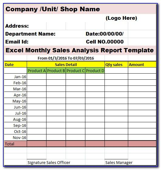 Monthly Sales Mis Report Format In Excel