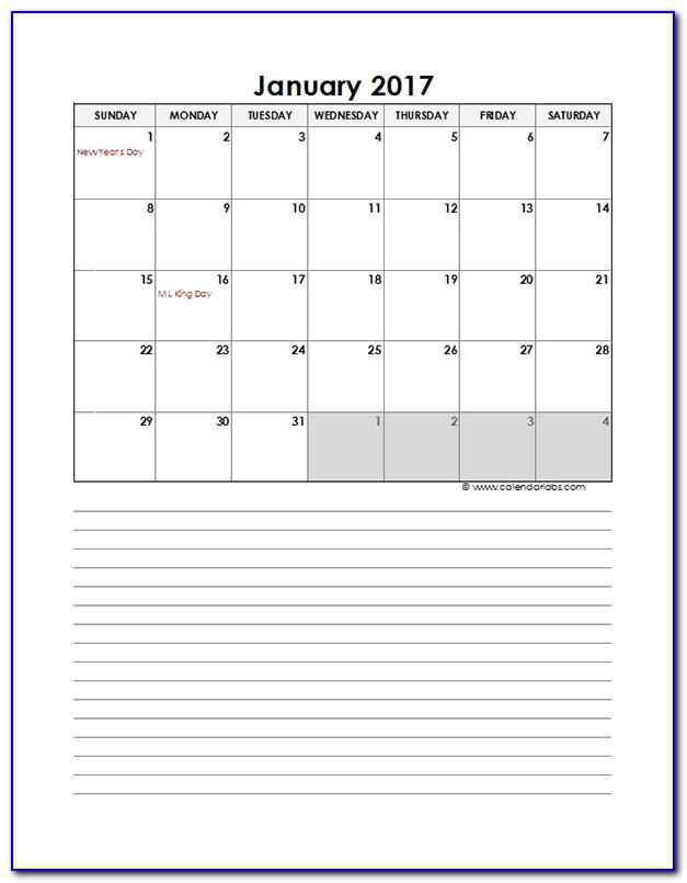 Monthly Schedule Excel Template 2016