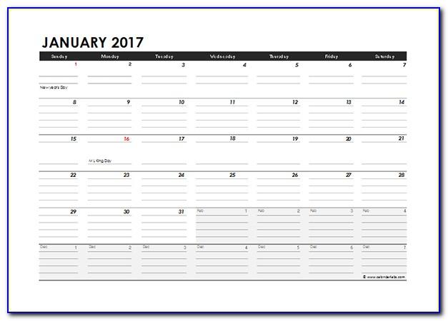 Monthly Schedule Excel Template 2017
