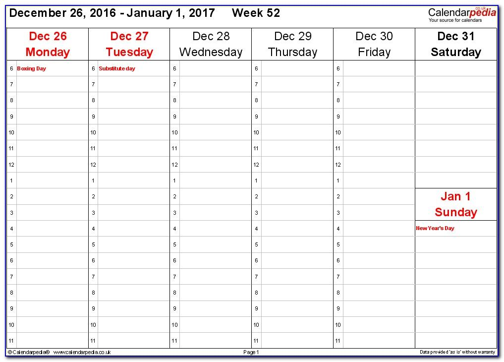 Monthly Schedule Excel Template 2018