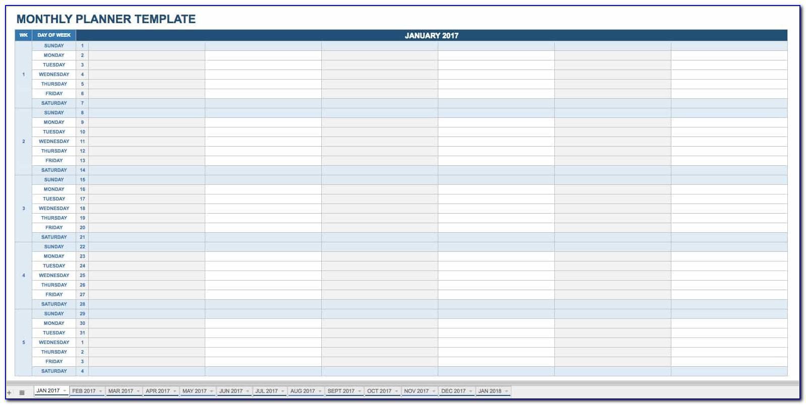 Monthly Schedule Format Excel