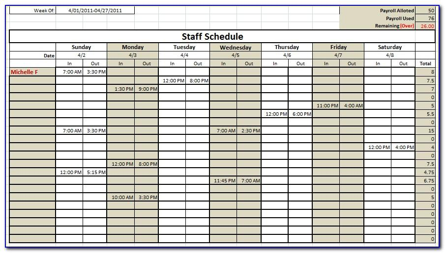 Monthly Staffing Calendar Template