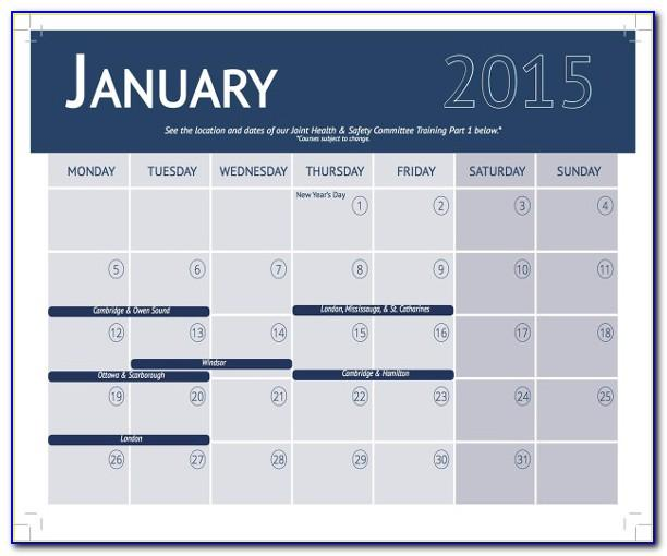 Monthly Training Calendar Template Excel