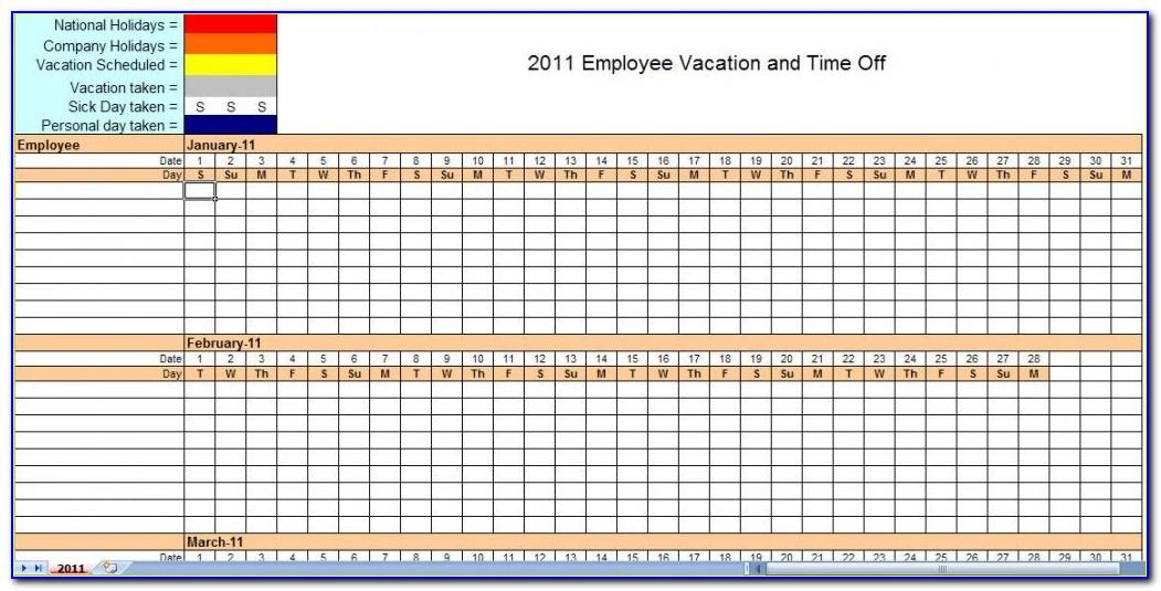 Monthly Vacation Tracking Template