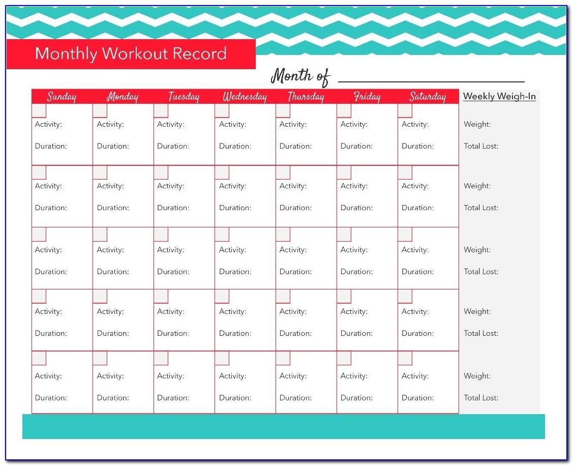 Monthly Workout Log Template