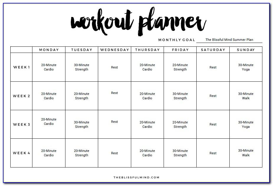 Monthly Workout Schedule Template Excel