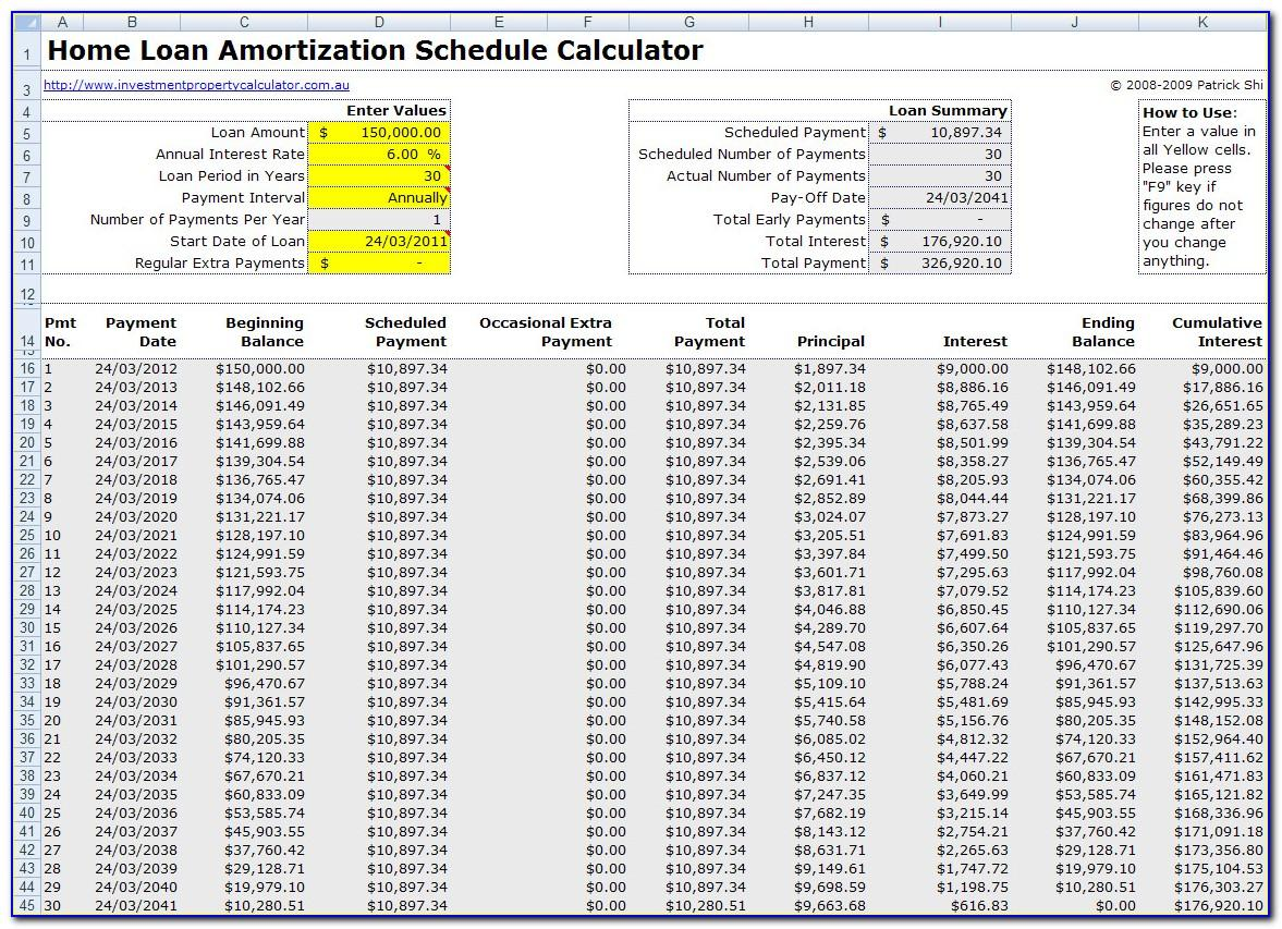Mortgage Amortization Schedule Excel Template With Extra Payments
