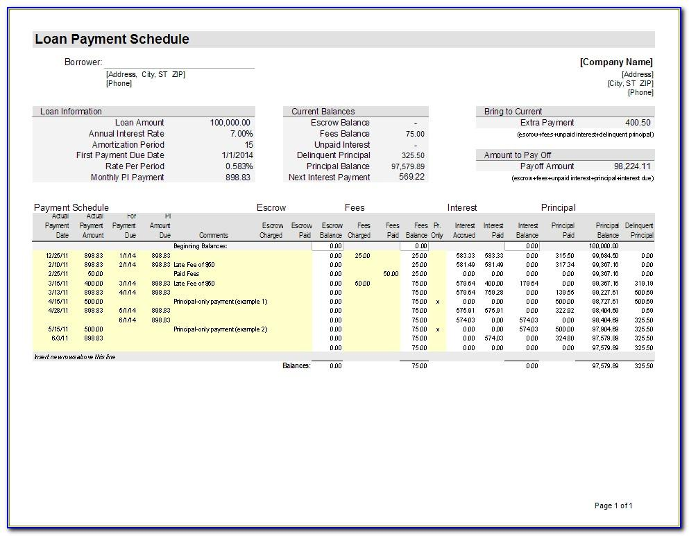 Mortgage Amortization Schedule Spreadsheet Template