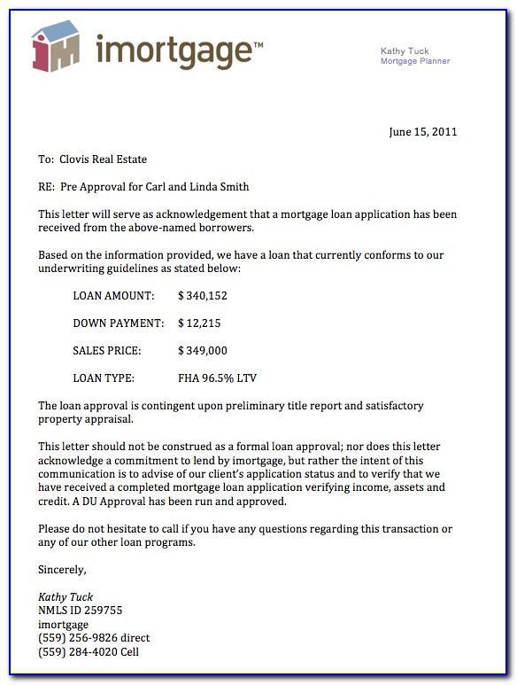 Mortgage Loan Pre Approval Letter Sample