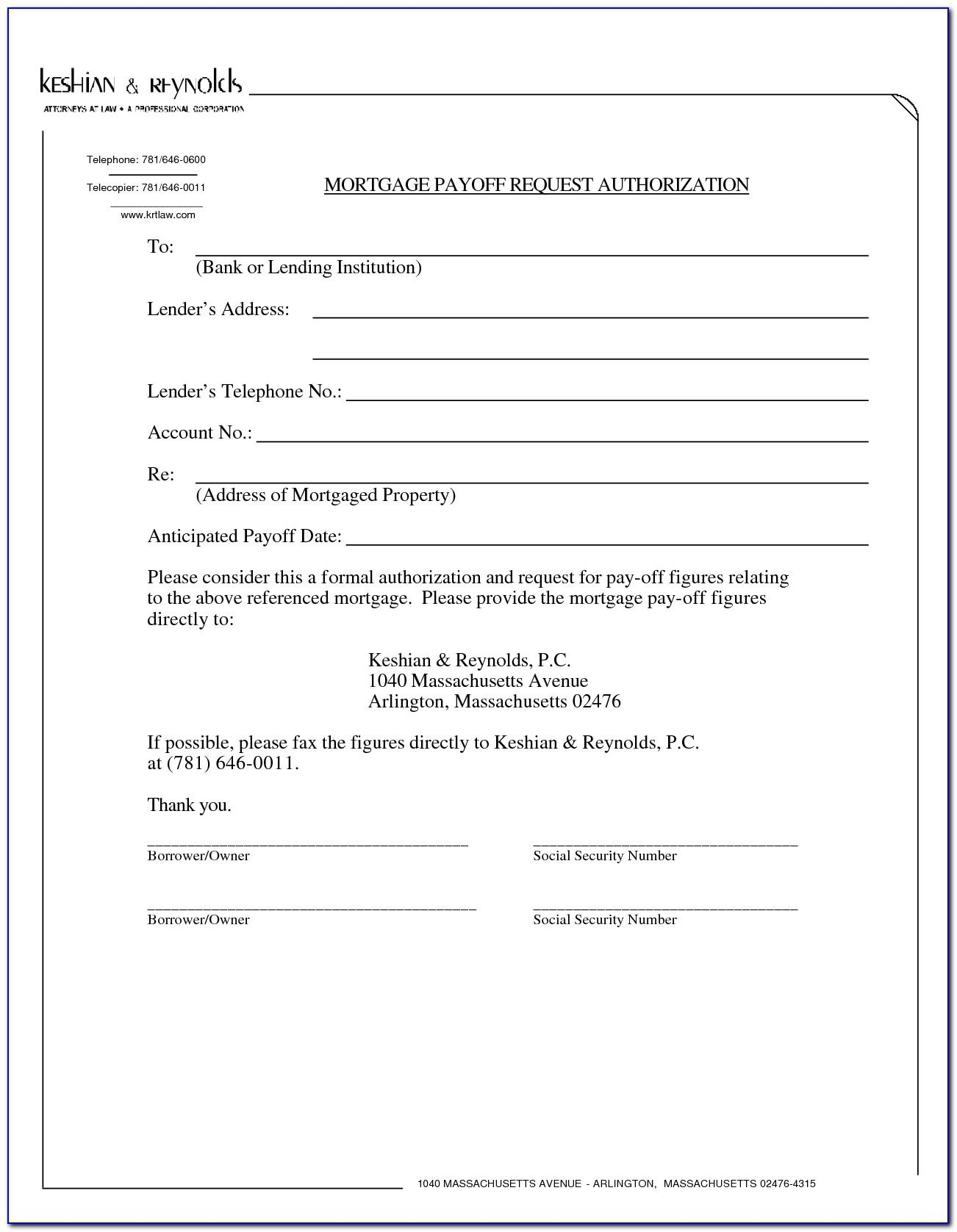Mortgage Payoff Statement Form
