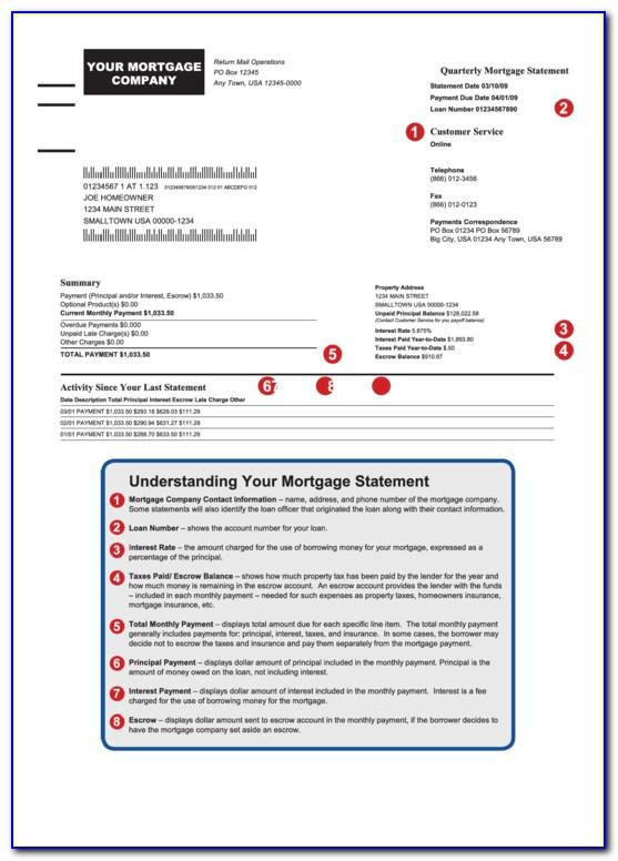 Mortgage Statement Sample Pdf