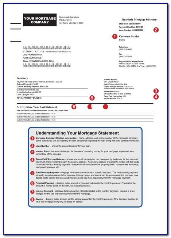 Mortgage Statement Sample Pdf