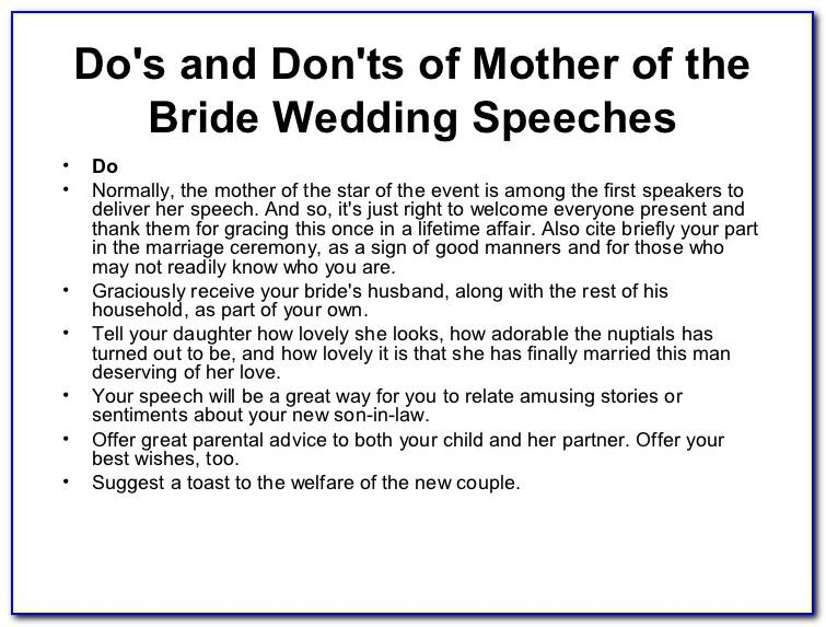 Mother Of The Bride Speech Examples Funny