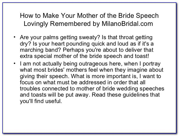 Mother Of The Bride Speech Examples Uk
