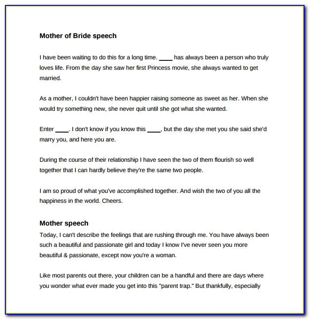Mother Of The Bride Wedding Speech Examples Free