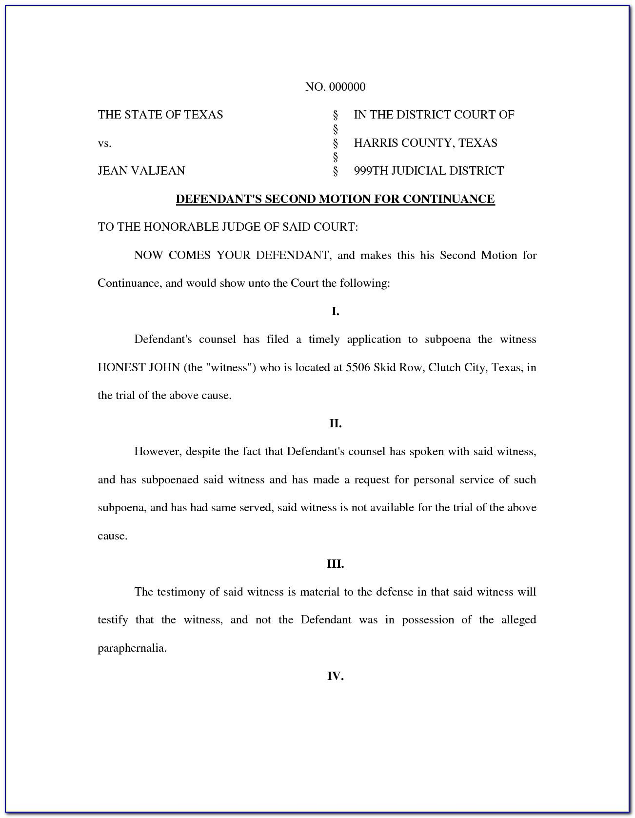 Motion For Continuance Form Miami Dade Florida