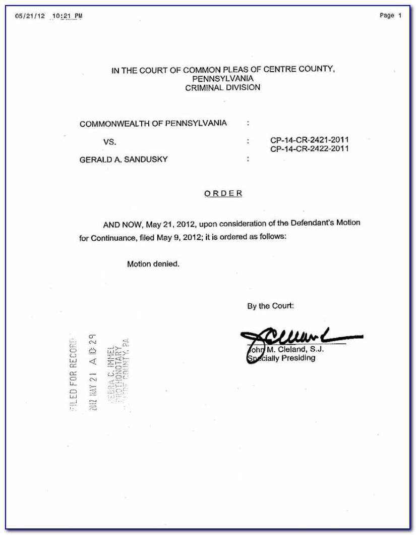 Motion For Continuance Form Missouri