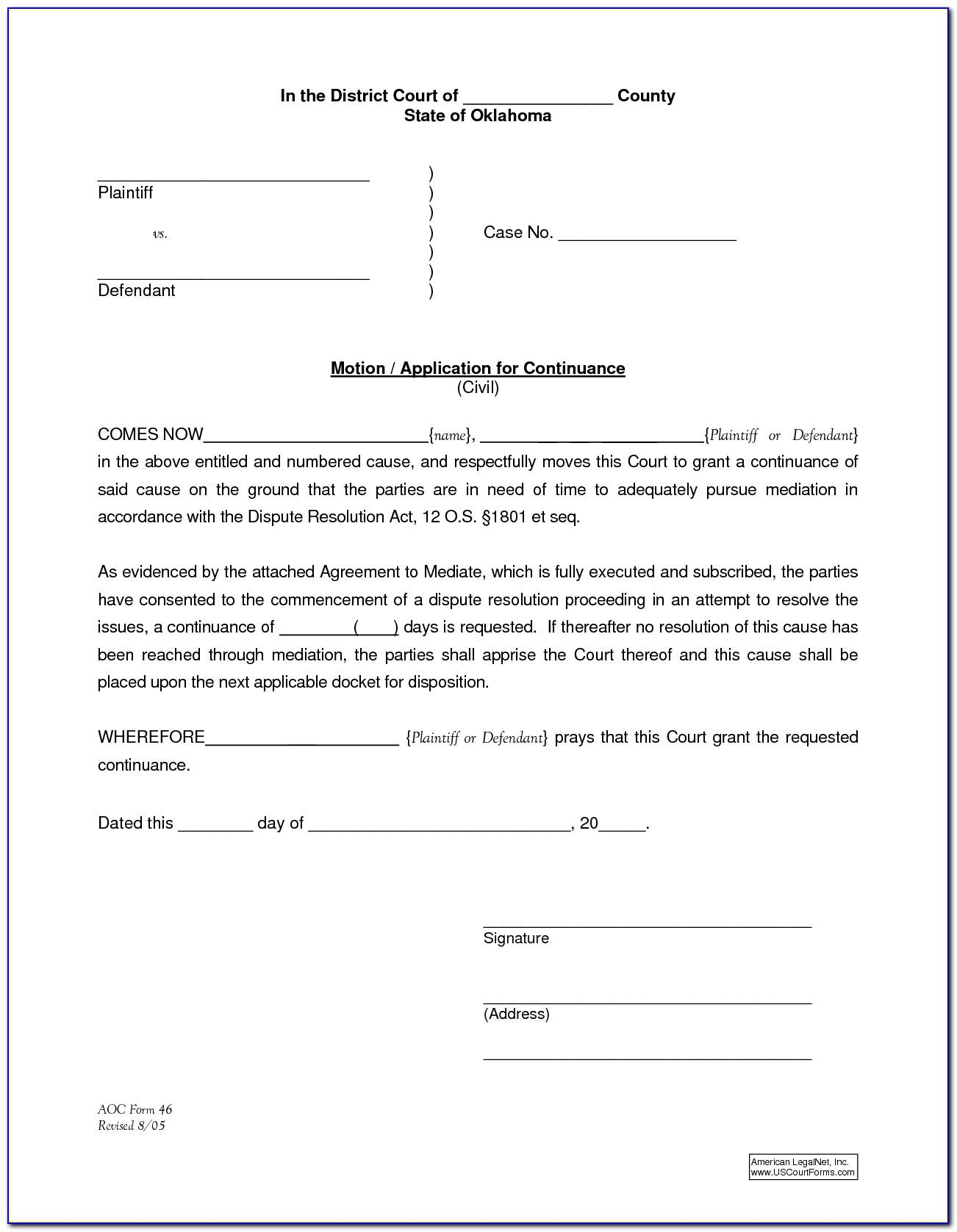 Motion For Continuance Form Ohio