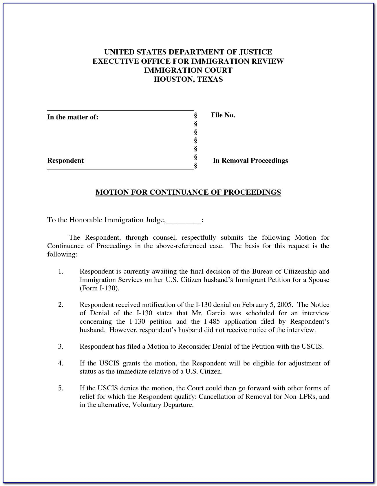 Motion For Continuance Form Texas