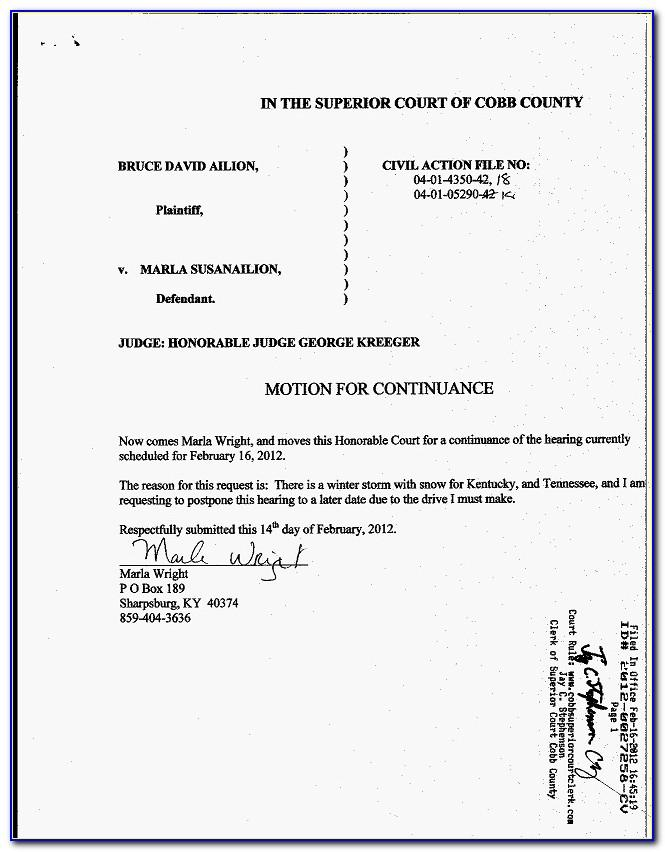 Motion For Continuance Sample Texas