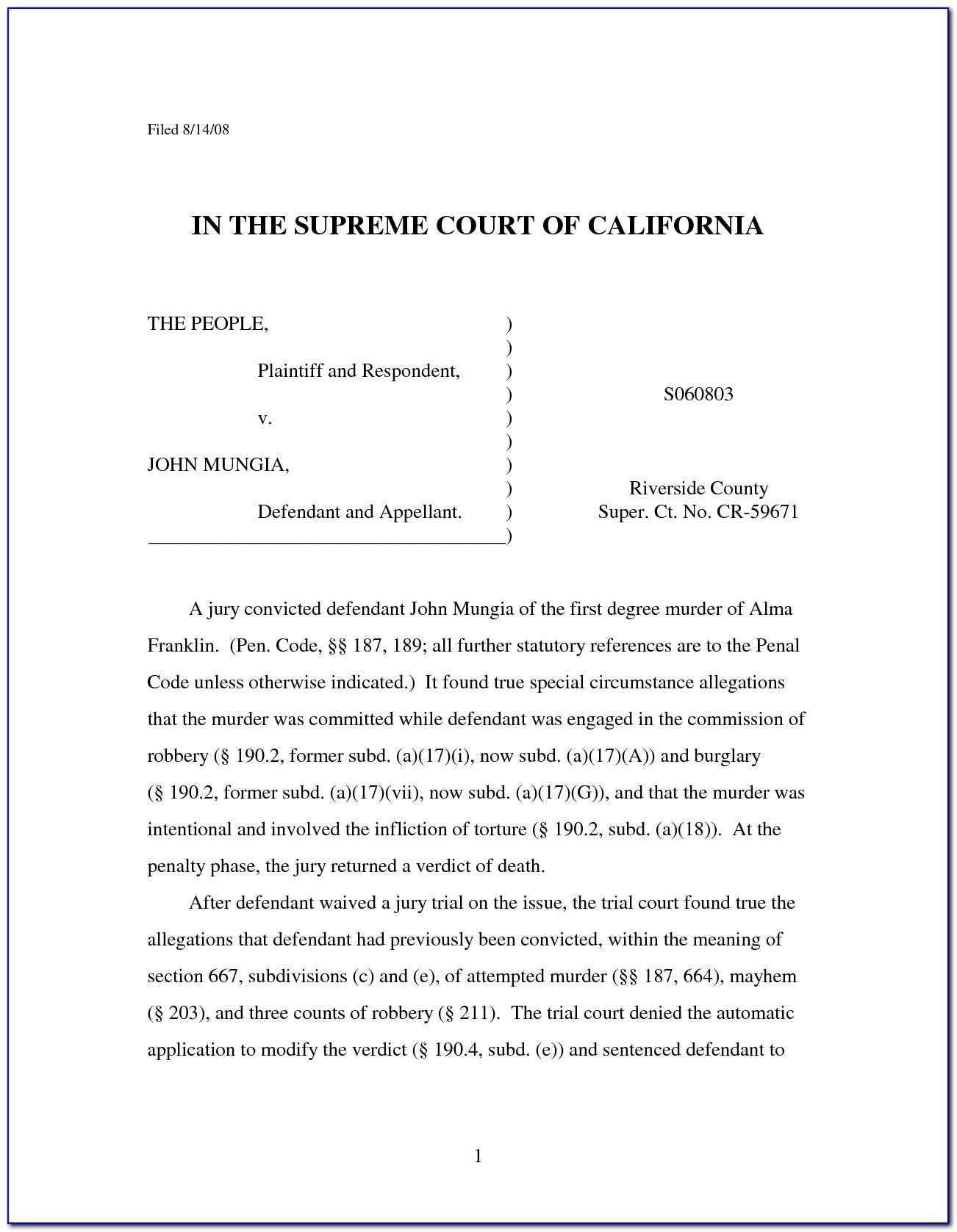 Motion For Continuance Template California